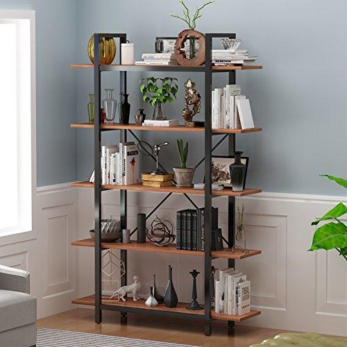Five Tier Etagere - DECHO DESIGN Decho 5-Tier Bookshelf,Vintage Industrial Style Bookshelf,Wood and Metal Bookcase,71