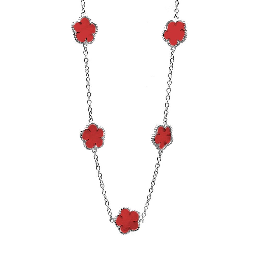 CloseoutWarehouse Rhodium Plated Sterling Silver Red Enamel Flower Necklace