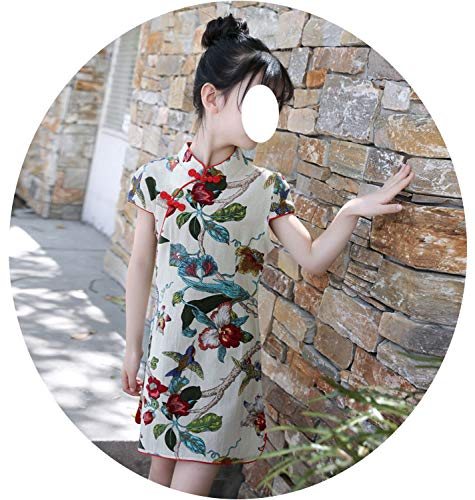 Baby Girl Floral Dress Cheongsam Children Traditional Ancient Costume Summer Clothes,rgreen,6 -