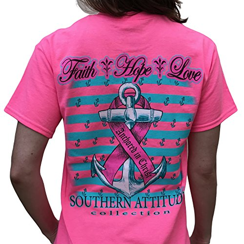 Southern Attitude Hope Breast Cancer Awareness Pink Short Sleeve Shirt (Large)