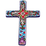 NOVICA Hand Painted Talavera Large Ceramic Wall Cross, Multicolor, 'Jerusalem Rose'