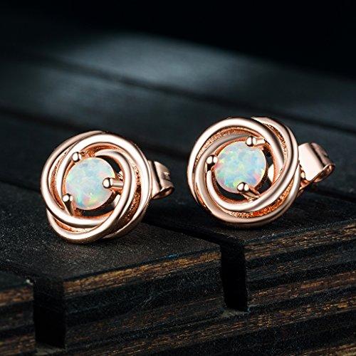 Forever Love Knot Opal Earrings- 18K Rose Gold plated Stud Earring for Women Girls by RoseJeopal (Image #1)