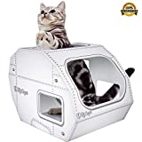 No 1 Rated – Cat Toys & Playhouse- Best Indoor Cardboard Cat House & Toy – Now with Corrugated Scratcher Lounge Base, FREE Mouse & Feather Toy – Bonus Ebook