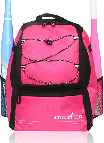 Athletico Youth Baseball Bat Bag - Backpack for Baseball, T-Ball & Softball Equipment & Gear for Boys & Girls | Holds Bat, Helmet, Glove | Fence Hook (Pink) (Case Carrying Bat)