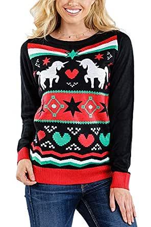 Tipsy Elves Women's Yuletide Unicorn Sweater - Cute Unicorn Christmas Sweater: XS Black