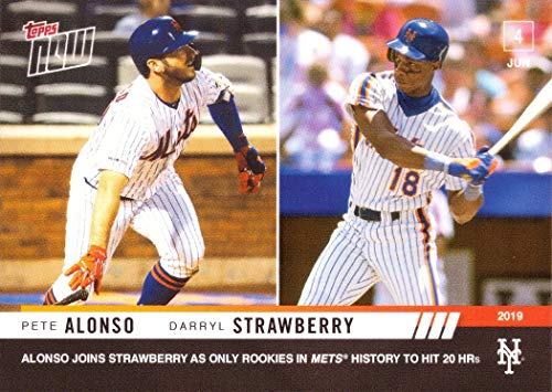 2019 Topps Now #324 Pete Alonso/Darryl Strawberry Baseball Card - Alonso Joins Strawberry as Only Rookies in Mets History to Hit 20 HRs - Only 872 made!