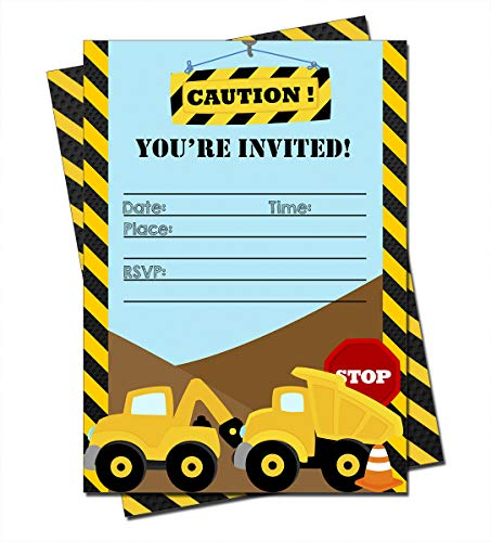 (Construction Trucks Birthday Party Invitations (20 Count) with Envelopes - Fill in Invitations for Birthday Boys)