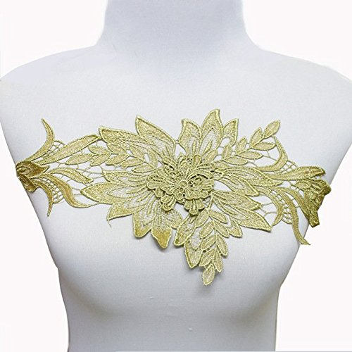 (3D Floral Leaf Patch Gold Metallic Trim Lace Cord Embroidery Patches Bridal Applique Sewing for DIY Design T1612)