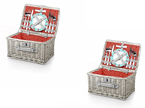 Catalina Picnic Basket - Picnic Time Catalina Basket - Watermelon, Set of 2