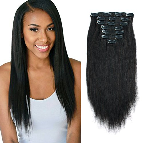 Lovrio Yaki Stright Real Remy Clip in Hair Extensions 9A Grade 100% Virgin Brazilian Hair 7 Pieces Double Weft for full Head Natural Black Color for Black Women YK 14