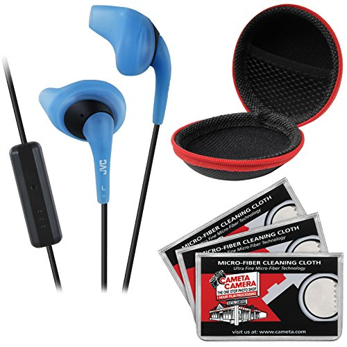 JVC HA-ENR15 Gumy Sport Headphones with Remote & Mic (Blue) with Case & 3 Microfiber Cloths