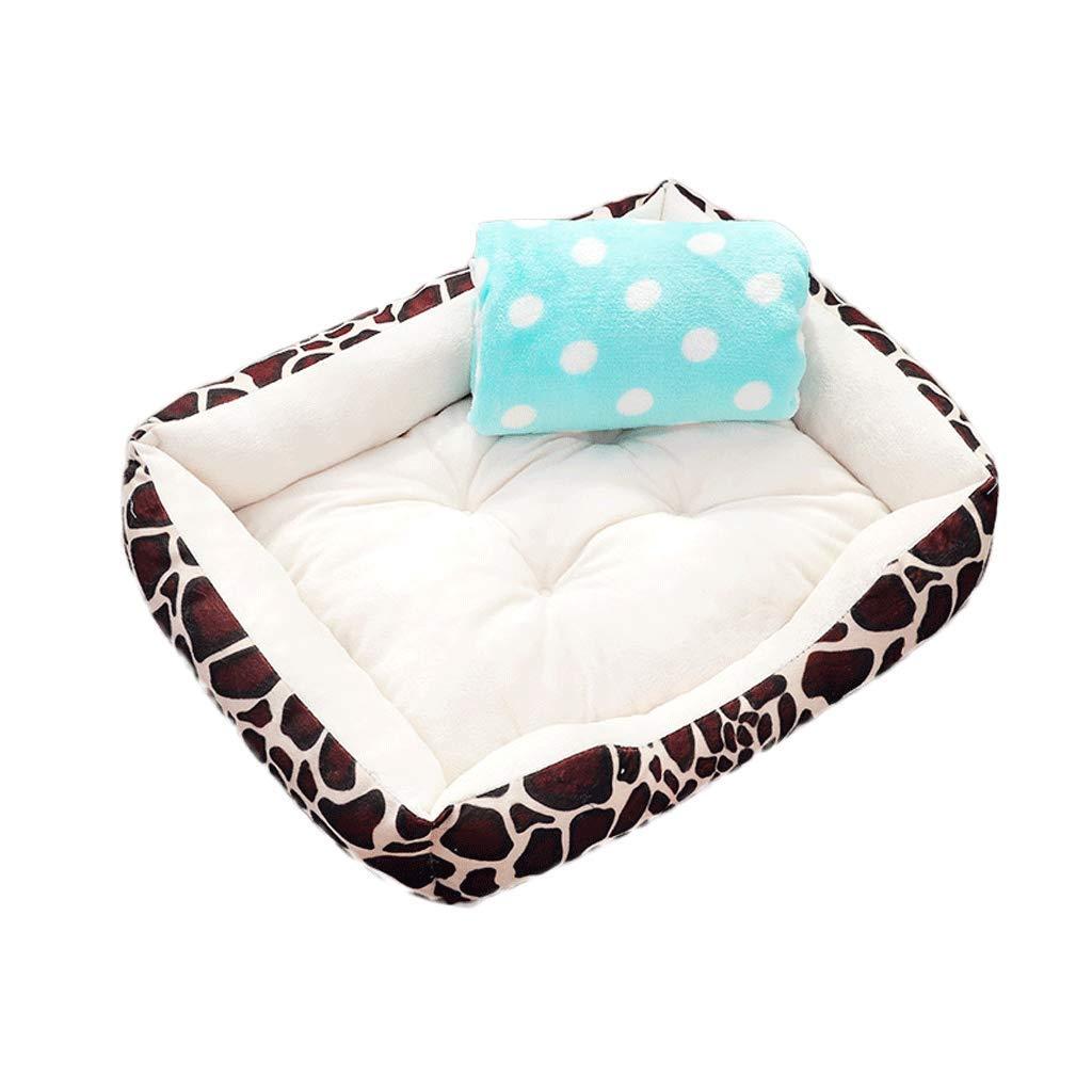 Beige+blanket M60cm Beige+blanket M60cm Pet Bed Pet Supplies Small and Medium Leopard Plaid Kennel Cat Litter Pet Litter Blanket Four Seasons Universal A+ (color   Beige+Blanket, Size   M60cm)