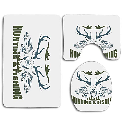 EnmindonglJHO Hunting Artistic Emblem Moose Head Horns Trout Salmon Sea Fishes Olive Green Slate Blue White 3pcs Set Rugs Skidproof Toilet Seat Cover Bath Mat Lid Cover Cushions Pads