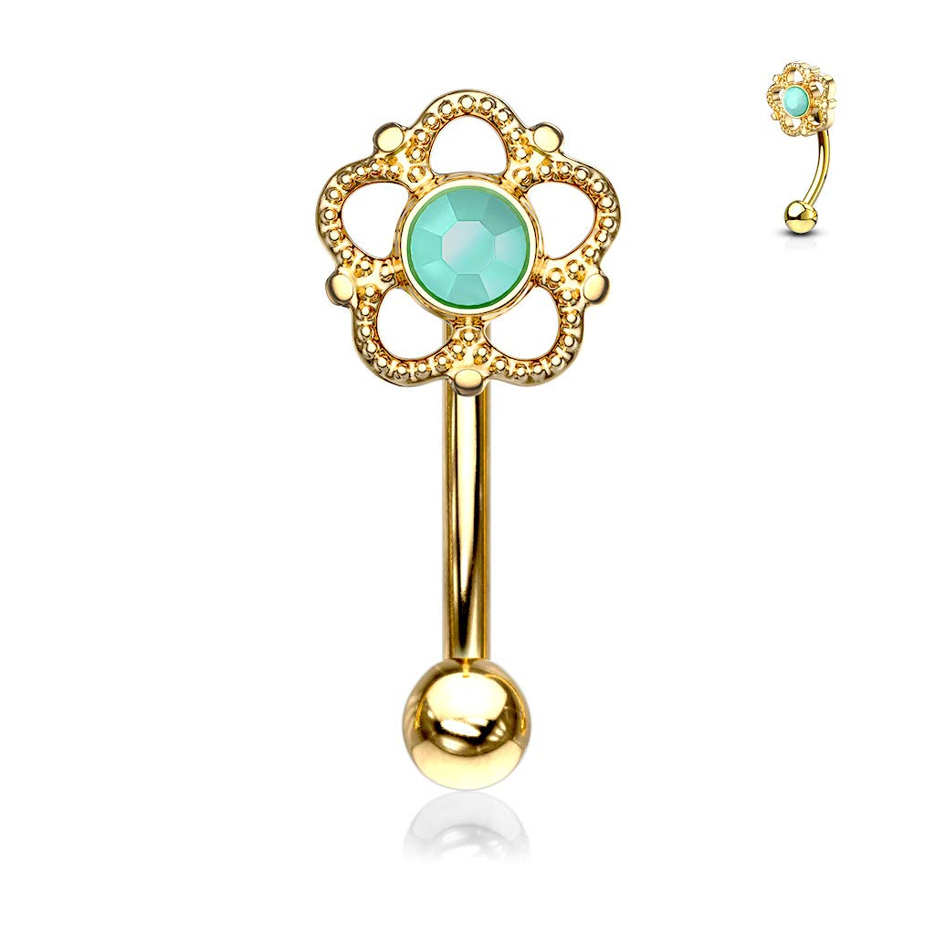 Sold Per Piece Dynamique Flower Filigree Turquoise Center Top 316L Surgical Steel Eyebrow Ring//Curved Barbell