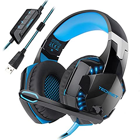 USB Gaming Headset, TeckNet Wired 7.1 Channel Surround Sound USB PC Computer Gaming Headset Over Ear Headphones With Microphone, Volume Control and LED (Usb Headset Noise Cancelling)
