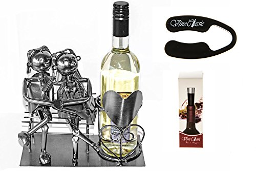 Fabulous Couple Siting 0n a Bench Next to a Wine Bottle Stand That Has a Heart on It Wine Bottle Holder Plus a Wine Foil Cutter and a Wine Bottle Vacuum Stopper (Fabulous Gift Basket)