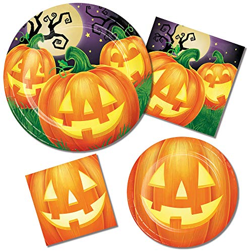 (Halloween Paper Plates and Napkins Sets - Durable and Very Cute Sets of Halloween Plates and Napkins - Multiple Themes - 64 Total Pieces Per Set - Great Value (Happy)