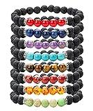 REVOLIA 8MM 8Pcs Beaded Bracelets for Men Women Lava Rock Bracelets Natural Stone Adjustable 7.5-8 Inch