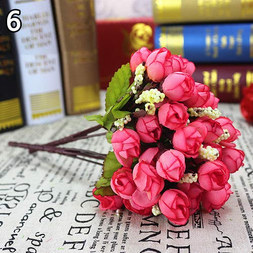 (BYyushop Sweet Artificial Rosebud Bouquet Home Wedding Cloth Rose 15 Flowers on 1 Piece - Dark)