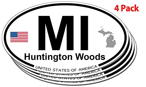 Huntington Woods, Michigan Oval Sticker - 4 pack ()