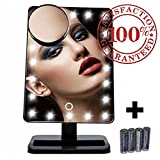 Makeup Vanities Without Mirror 20 LED Lighted Makeup Mirror/Vanity Mirror with Touch Button Dimming, Detachable 10X Magnification Spot Mirror, 180 Swivel Rotation, Portable and Convenient and High Definition Cosmetic Mirror