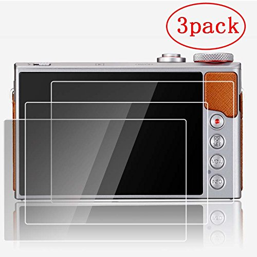PCTC Tempered Glass Screen Protector Foil for Canon Powershot G7X G9X Anti-scratches Anti Dust Anti Fingerprint (3 Pack)