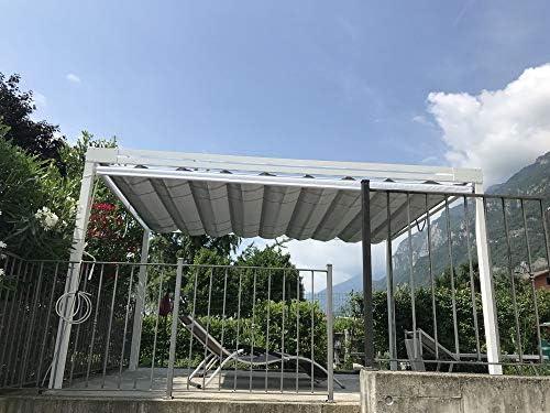 QEEQ.IT - Pérgola Blanca retráctil 4 x 3 - Estructura Antracita ...