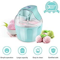 Ice Cream Maker, iSiLER 1.5 Quart Ice Cream Machine With LCD Timer, 3 Pints Gelato Ice Cream Maker for Kids, Automatic Frozen Yogurt, Soft-Serve Ice Cream, Custard, Sorbet, Dessert Maker for Home