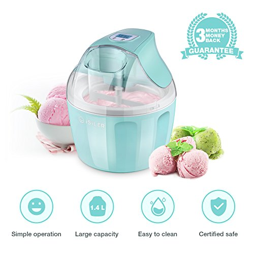 Free Custard Cream - Ice Cream Maker, iSiLER 1.5 Quart Ice Cream Machine With LCD Timer, 3 Pints Gelato Ice Cream Maker for Kids, Automatic Frozen Yogurt, Soft-Serve Ice Cream, Custard, Sorbet, Dessert Maker for Home