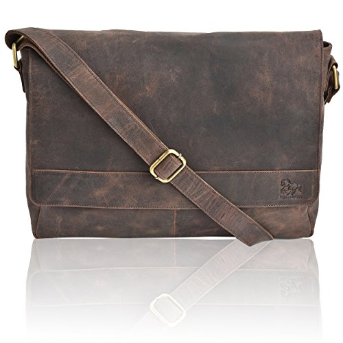 Leather Laptop Messenger Bag Office Briefcase College Bag (Brown Crazy Horse)