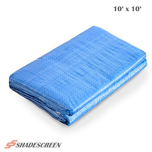 Shade Screen Tarp 10 x 10 Feet Blue Multi Purpose Tarp 5 Mil Thick Poly Tarpaulin UV Resistant for Waterproof Rain Car Boat Shade ()