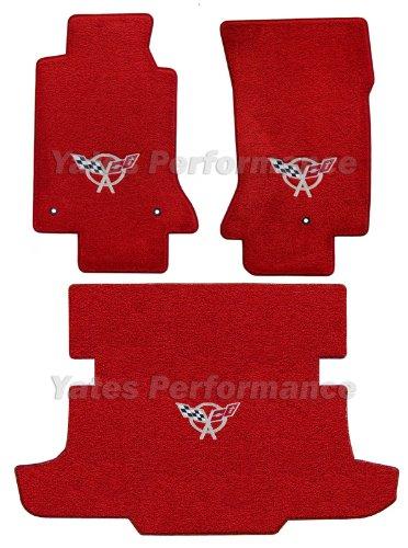 (1997-2004 C5 Corvette Hardtop Red Floor & Trunk Mats - Silver Crossed Flags Logo)