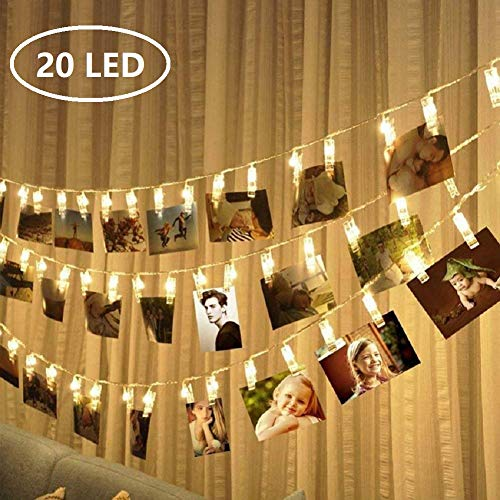 MEKEET Photo Clips String Lights 20 LED Card Holders Gifts for Teen Girls to Hanging Pictures, Polaroids, Indoor LED Fairy String Lights for Christmas Party Bedroom Decor Warm White
