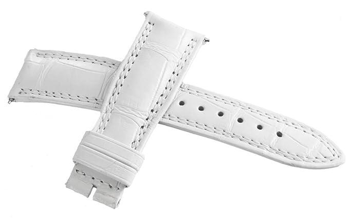 Jaeger LeCoultre OEM blanco piel de cocodrilo correa de reloj banda 19 mm x 16 mm