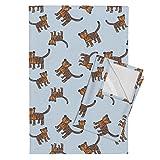 Roostery Tiger Lion Cat Zoo Jungle Animal Tara Put Tea Towels Tigers On Blue by Taraput Set of 2 Linen Cotton Tea Towels