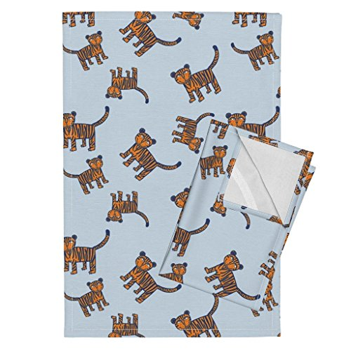 Roostery Tiger Lion Cat Zoo Jungle Animal Tara Put Tea Towels Tigers On Blue by Taraput Set of 2 Linen Cotton Tea Towels by Roostery