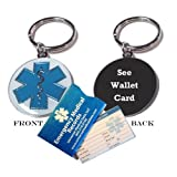 "Pre-engraved ""See Wallet Card"" Medical Alert Identification Star of Life Cloisonné' Keychain"