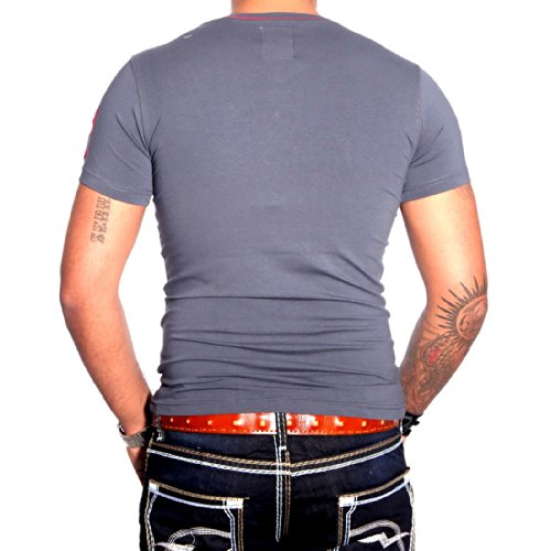 R-NEAL Clubwear Kurzarm Herren V-Neck T-Shirt Kontrast Shirt RTN-16690 NEU, Größe:L, Farbe:Anthrazit