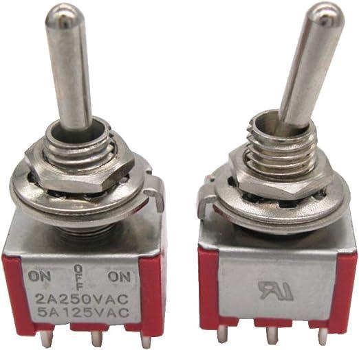 Mxuteuk 10 Stück Mini Kippschalter Dpdt 3 Position 6 Pins Ein Aus Ein Ac 125v 5a Mit Wasserdicht Schutzkappe Mts 203 10mz Baumarkt
