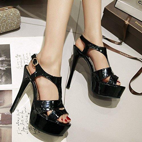 SaraIris PU for High Shoe Open Black Summer Toe Heels Sandals Classic Heel Ankle Dress Women Strap Platform Sexy Vegan BvBqfrARnx