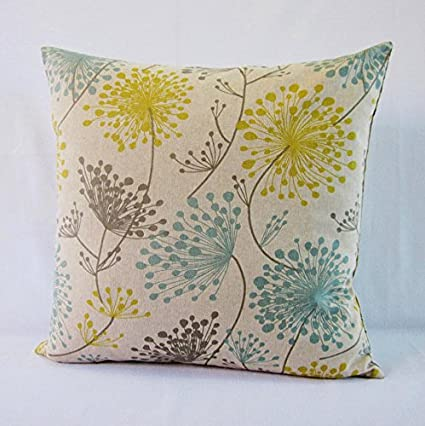 65673958679 Image Unavailable. Image not available for. Color  Floral Pillow Cover Gray  Yellow Aqua Teal Botanical DecorativeThrow Oatmeal