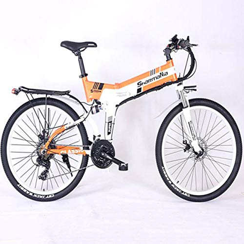 Dapang Power Plus Electric Mountain Bike, 26'' Electric Bike with 36V 10.4Ah Lithium-Ion Battery, Aluminum Frame with Mechanical Disc Brakes,Orange
