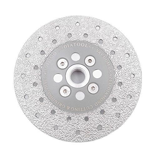 SHDIATOOL 4-1/2 Inch Diamond Cutting Grinding Disc Fits 5/8-11 Arbor for Marble Ceramic Double Sided Vacuum Brazed Fast Cutting Shaping Grinding Wheel