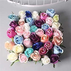 XGM GOU DIY Artificial Rose Flower Bud Heads Silk Decorative Flower DIY Road Led Wedding Flower Bouquet Hotel Background Wall Decor 40