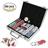 Doublefan Poker Chips Set, Heavy Duty 11.5 Gram Clay Poker Chips Set for Texas Holdem Blackjack Gambling Chips with Aluminum Case, Set of 200 Chips