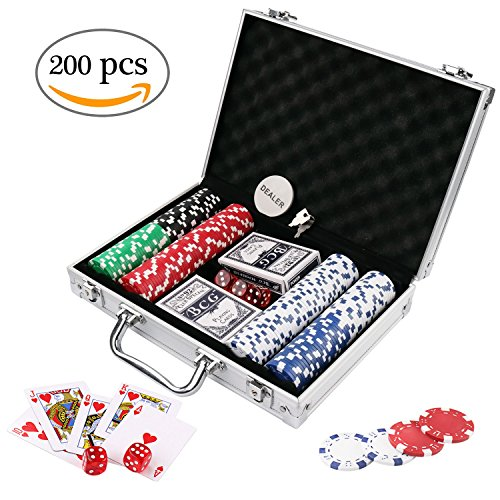 200 Card Set (Doublefan Poker Chips Set, Heavy Duty 11.5 Gram Clay Poker Chips Set for Texas Holdem Blackjack Gambling Chips with Aluminum Case, Set of 200 Chips)