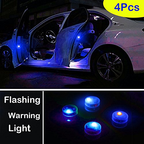 Botepon 4PCS Universal Wireless Car Door LED Warning Light, Safety Light, Strobe Lights for Anti rear-end Collision (Blue)