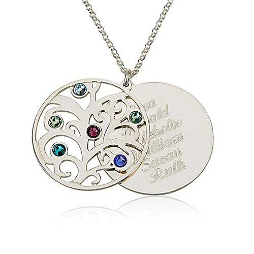 Family Necklace Birthstones Pendant Birthstone