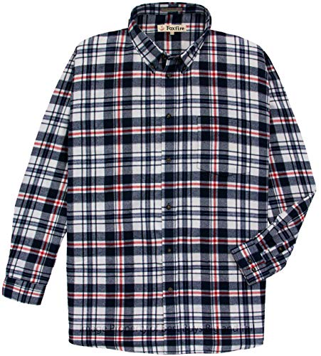 Foxfire 100% Cotton Flannel Shirt White/Navy Plaids #475F 4XB - Foxfire Long Sleeve Button
