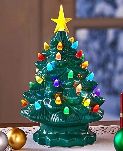 The Lakeside Collection Large Retro Lighted Tabletop Christmas Tree - Green (Christmas Tree Light Battery Up)